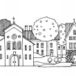 Cartoon house, hand drawn — Stock Vector