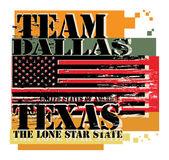 Sello de goma grunge con nombre de texas, dallas — Vector de stock