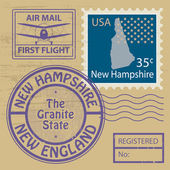 Grunge rubber stamp with name of New Hampshire, vector illustration — 图库矢量图片