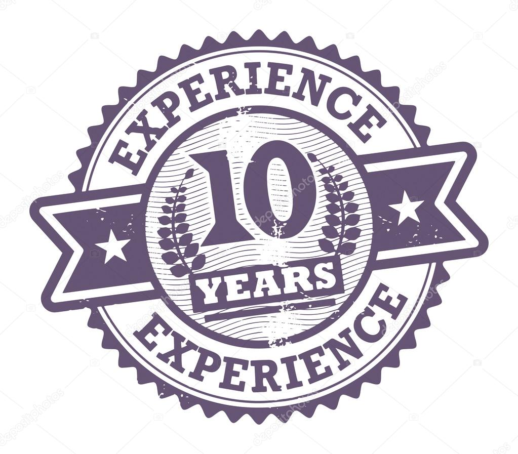 grunge rubber stamp with the text 10 years experience written inside  vector illustration
