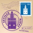 Stock Vector: Stamp Seville, Spain