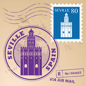 Stamp Seville, Spain — Stock Vector