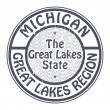 Stamp Michigan, Great Lakes Region — Stock Vector