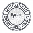 Stamp Wisconsin, Great Lakes Region — Stock Vector
