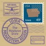 Rubber stamp Iowa — Stock Vector #34593963