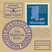 Rubber stamp Mississippi — 图库矢量图片