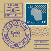 Rubber stamp Wisconsin — Stock Vector