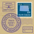 Stamp set with name of North Dakota — Stock Vector