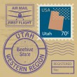 Stock Vector: Stamp set with name of Utah