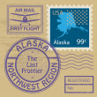 Stamp set with name of Alaska — Stock Vector