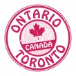 Stamp with name of Canada, Ontario and Toronto — Stock Vector