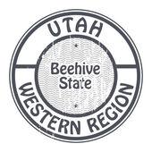 Stamp with name of Utah, Western Region — Stockvektor