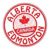 Stamp with name of Canada, Alberta and Edmonton — Stock Vector
