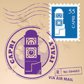 邮票意大利卡普里岛 — 图库矢量图片