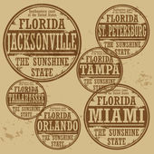 Stamp of Florida cities — Stock Vector