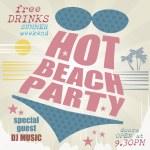 Retro beach party poster — Stock Vector #34950063