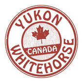 Stamp with name of Canada, Yukon and Whitehorse — Stock Vector