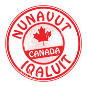 Stamp with name of Canada, Nunavut and Iqaluit — Stock Vector