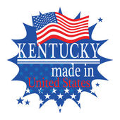Label with flag and text Made in Kentucky — Stock Vector
