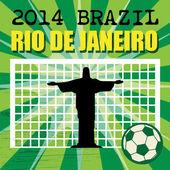 足球背景与文字巴西,里约热内卢 — 图库矢量图片