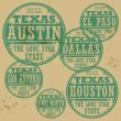 Stock Vector: Grunge rubber stamp set with names of Texas cities