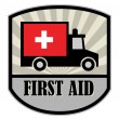 First Aid label — Stock Vector