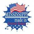 Label with flag and text Made in Mississippi — Stock Vector