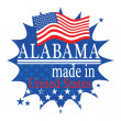 Stockvektor : Label with flag and text Made in Alabama