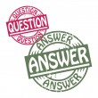 Abstract grunge rubber stamp set with the text Question - Answer — Stock Vector