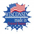 Label with flag and text Made in Wisconsin — Stok Vektör #35169419