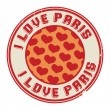 Stamp with text I love Paris — Stock Vector