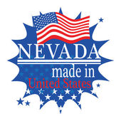 Label with flag and text Made in Nevada — Stock Vector
