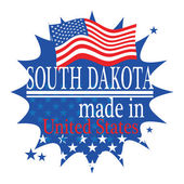Label with flag and text Made in South Dakota — Cтоковый вектор