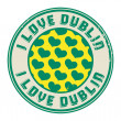 Stock Vector: Stamp with text I love Dublin