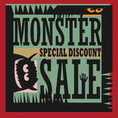 Abstract Monster Sale sign — Stock Vector