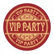 Stock Vector: Grunge rubber gold stamp with words Vip Party written inside