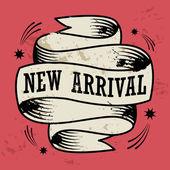 テキストの新しい到着とビンテージ リボン バナー — ストックベクタ