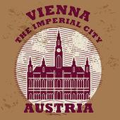 Grunge lastik damgası ile kelime vienna, austria içinde — Stok Vektör