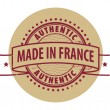 Stamp with the text Authentic, Made in France — Stock Vector