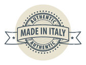 Stamp with the text Authentic, Made in Italy — Stock Vector