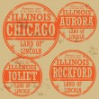 Grunge rubber stamp set with names of Illinois cities — Image vectorielle