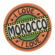 Grunge color stamp with text I Love Morocco inside — Stock Vector