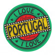 Grunge color stamp with text I Love Portugal inside — Stock Vector #36653935