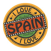 Grunge color stamp with text I Love Spain inside — Stock Vector