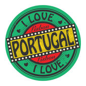 Grunge color stamp with text I Love Portugal inside — Stock Vector