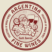 Grunge rubber stamp with words Argentina, Fine Wines — Stock Vector