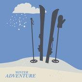 Winter mountain adventure background — Stock Vector