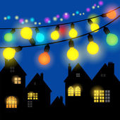Glowing Christmas lights — Stock Vector
