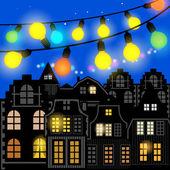 Glowing Christmas lights — Stock Vector