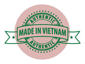 Stamp with the text Authentic, Made in Vietnam — Stock Vector